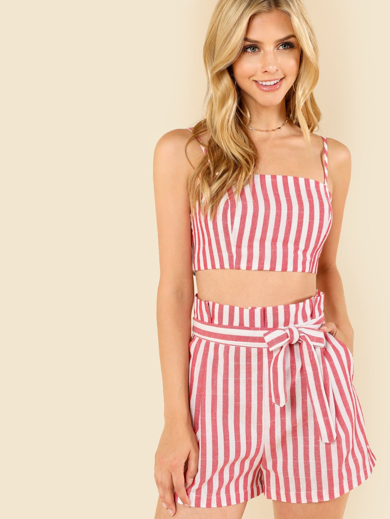 Striped Crop Cami Top & Self Belted Shorts Set sweatyrocks ringer crop cami top with drawstring shorts burgundy patchwork scoop neck sleeveless sexy women two pieces set