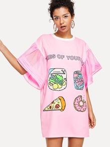 Cartoon Print Fluted Sleeve Dress