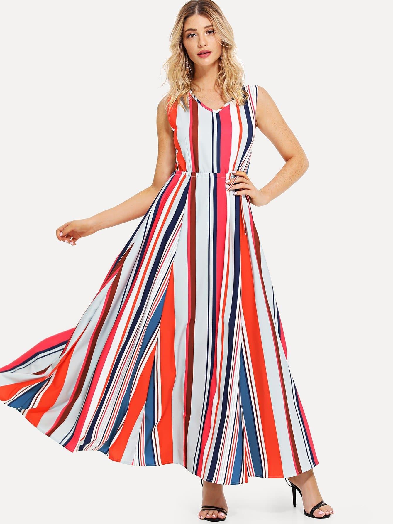 Drawstring Waist Striped Dress drawstring waist tank dress