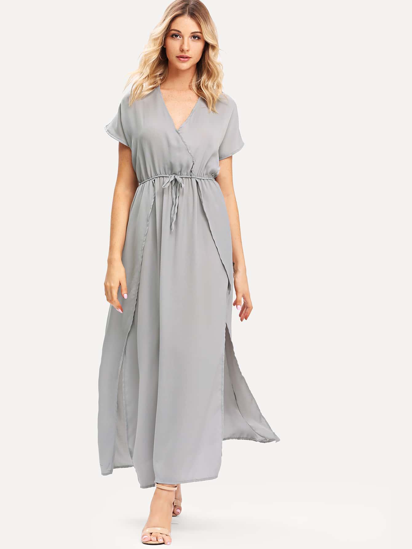 Drawstring Waist Wrap Dress drawstring waist tank dress