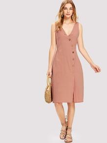 V Neckline Button Detail Dress
