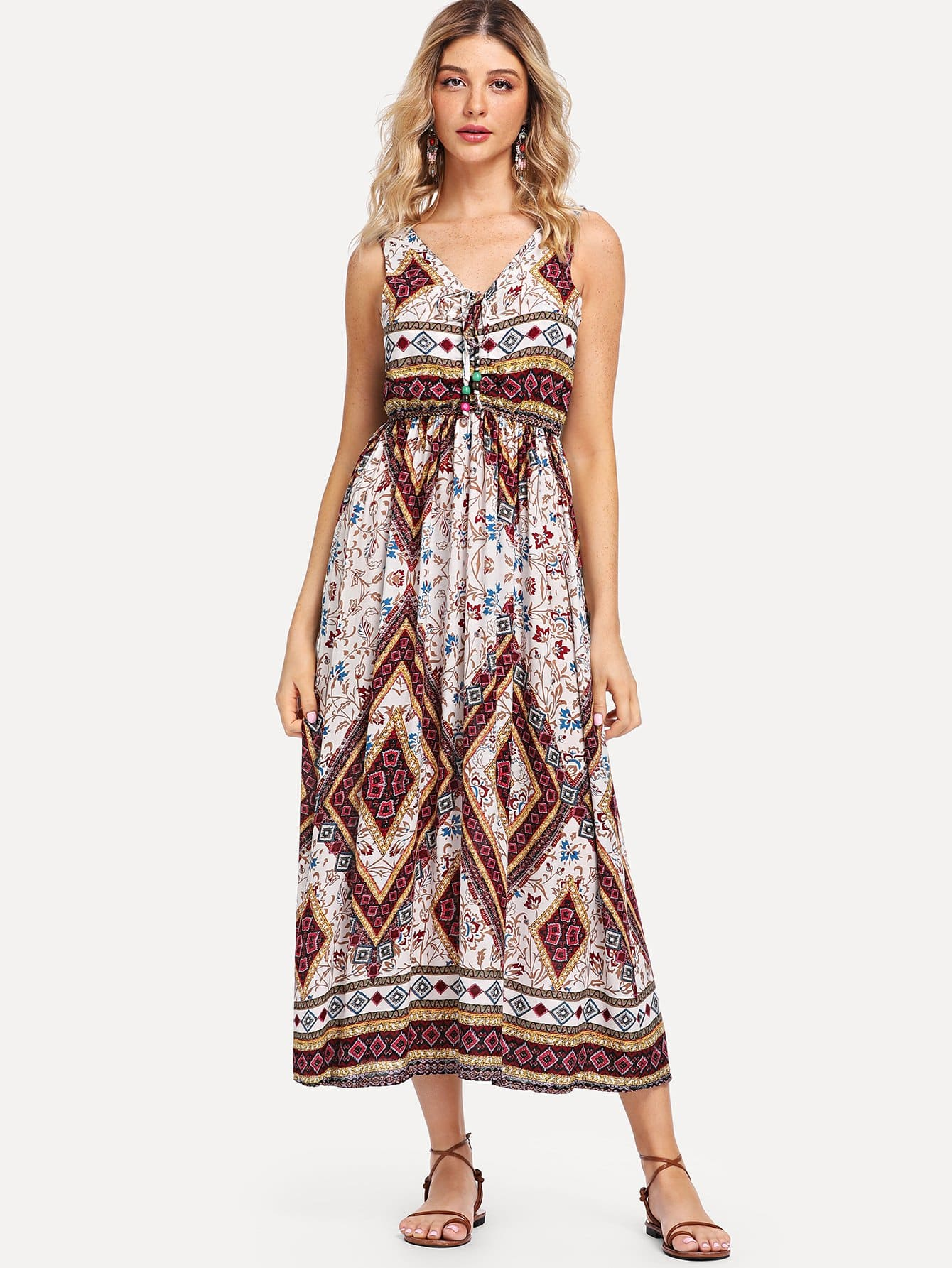 Tie Neck Geo Print Dress tied neck geo print flare dress