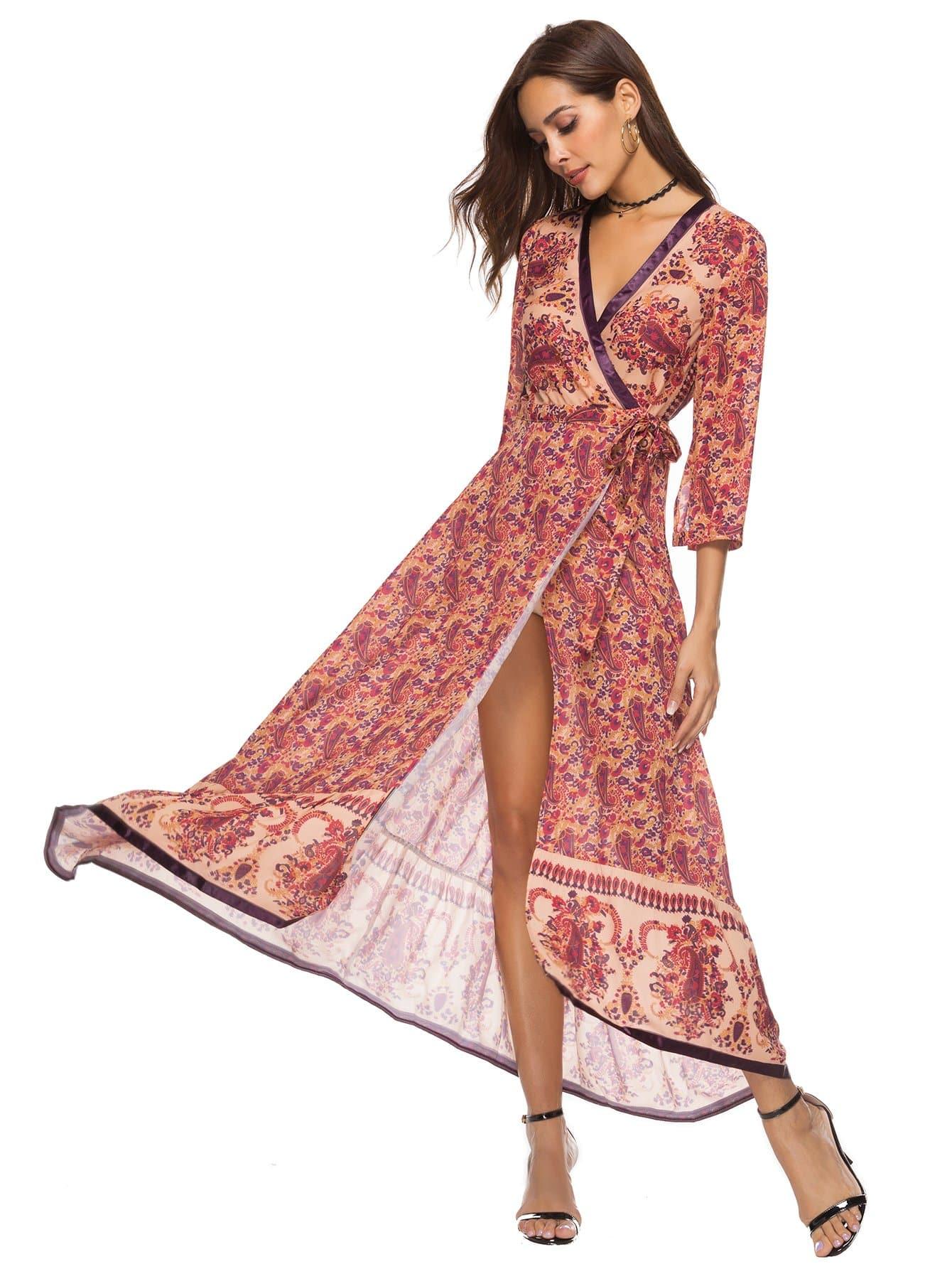 Knot Side Paisley Print Dress guitar print knot side dress
