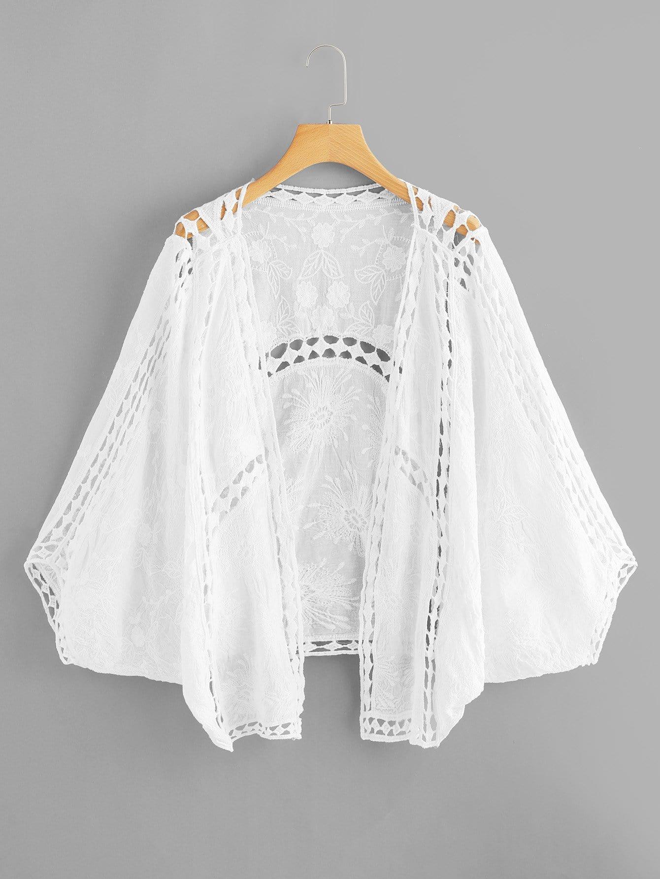 Вырезать Batwing Sleeve Kimono
