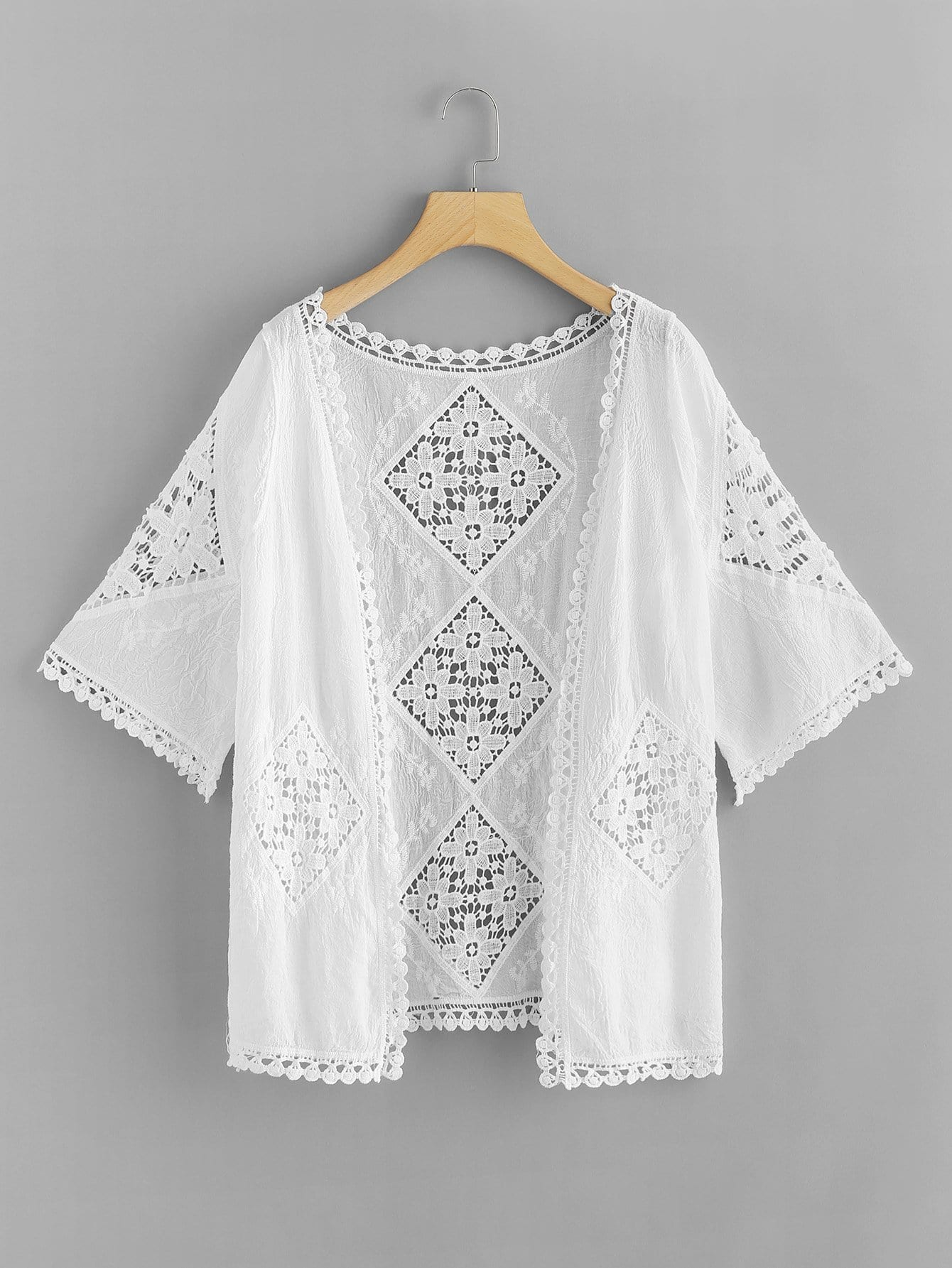 Lace Panel Embroidered Kimono embroidered lace panel bodysuit