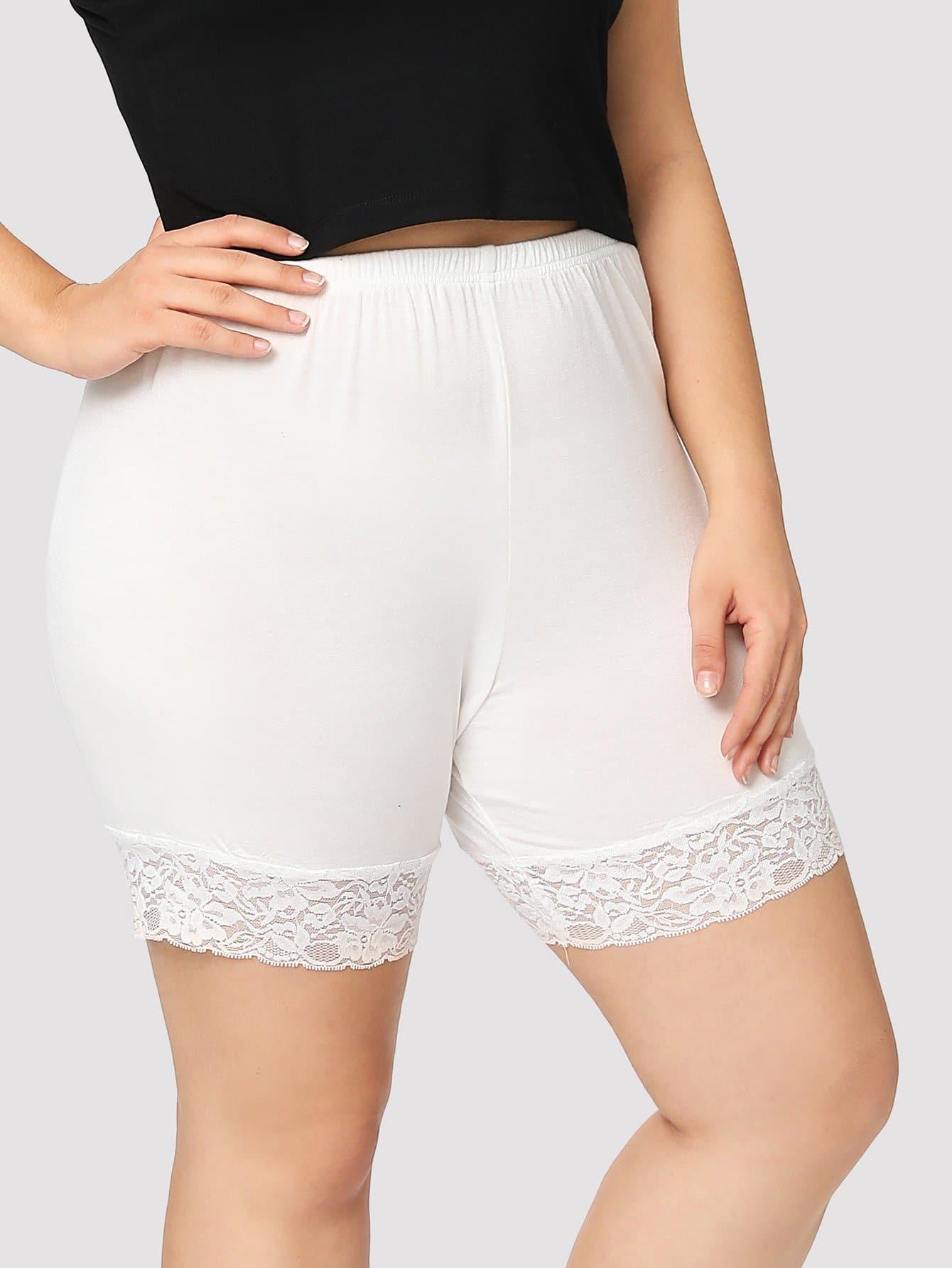 Plus Contrast Lace Legging Shorts