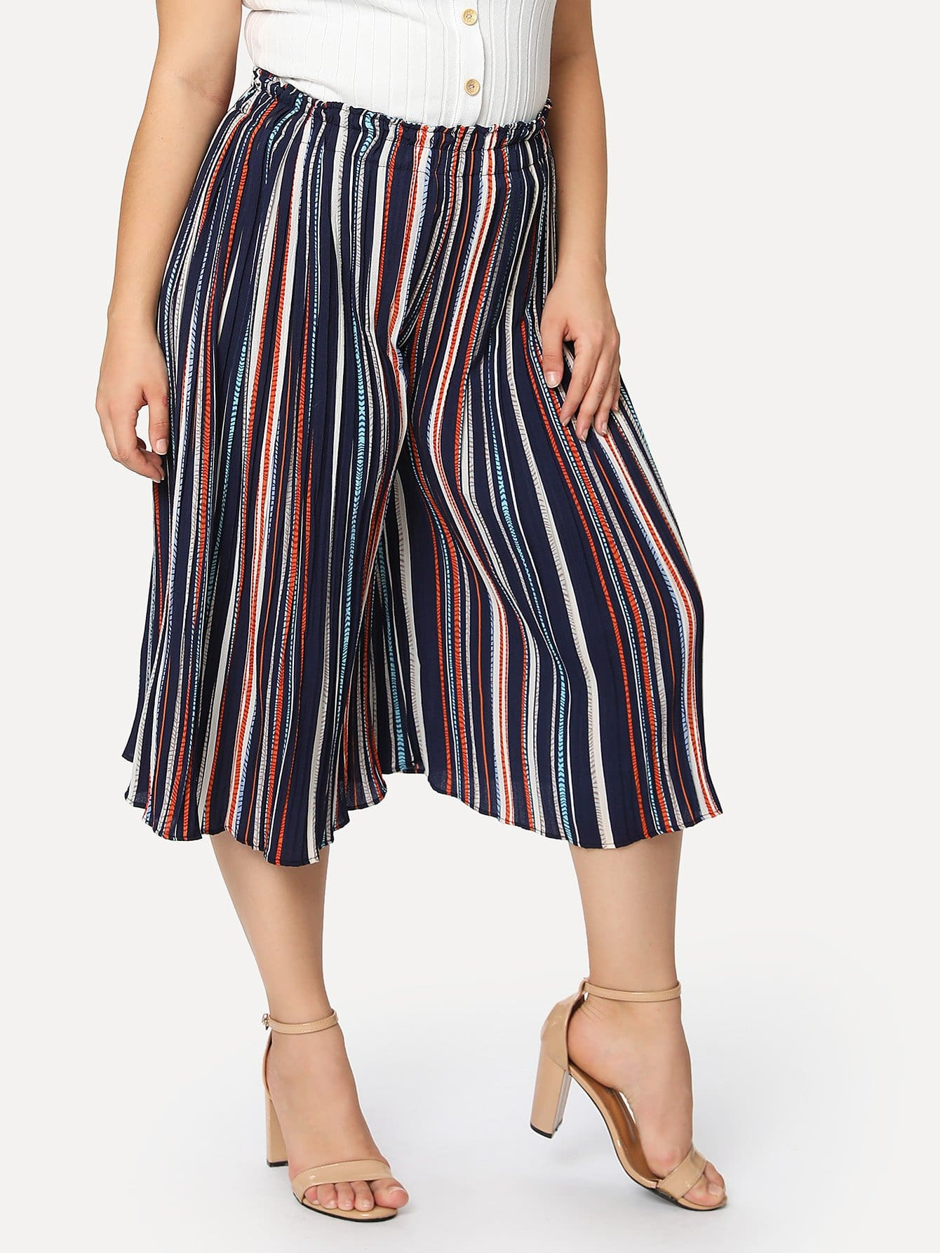Купить Полосатые брюки с широкими ногами, Carol, SheIn