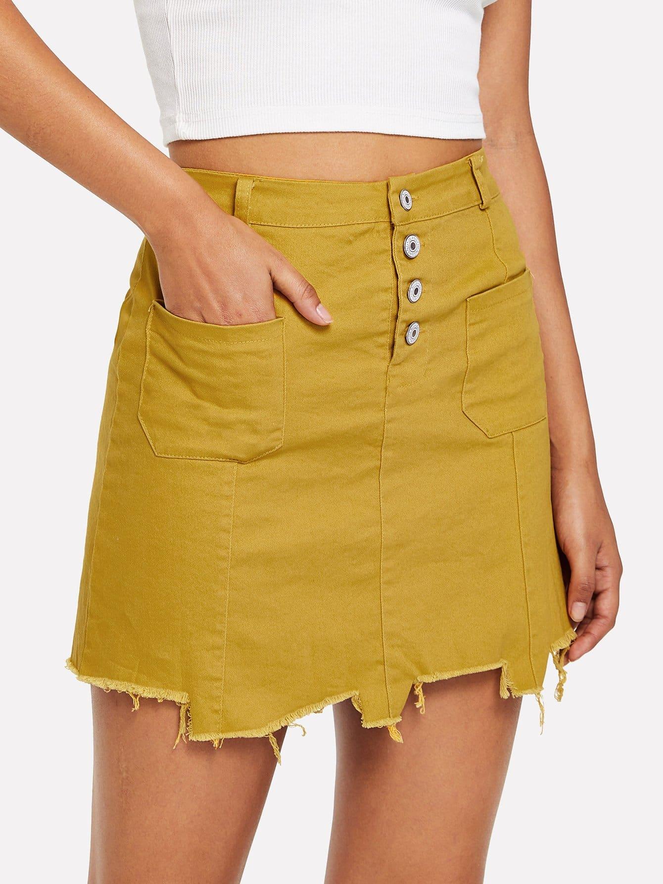 Raw Hem Dual Pocket Skirt girls single breasted raw hem skirt