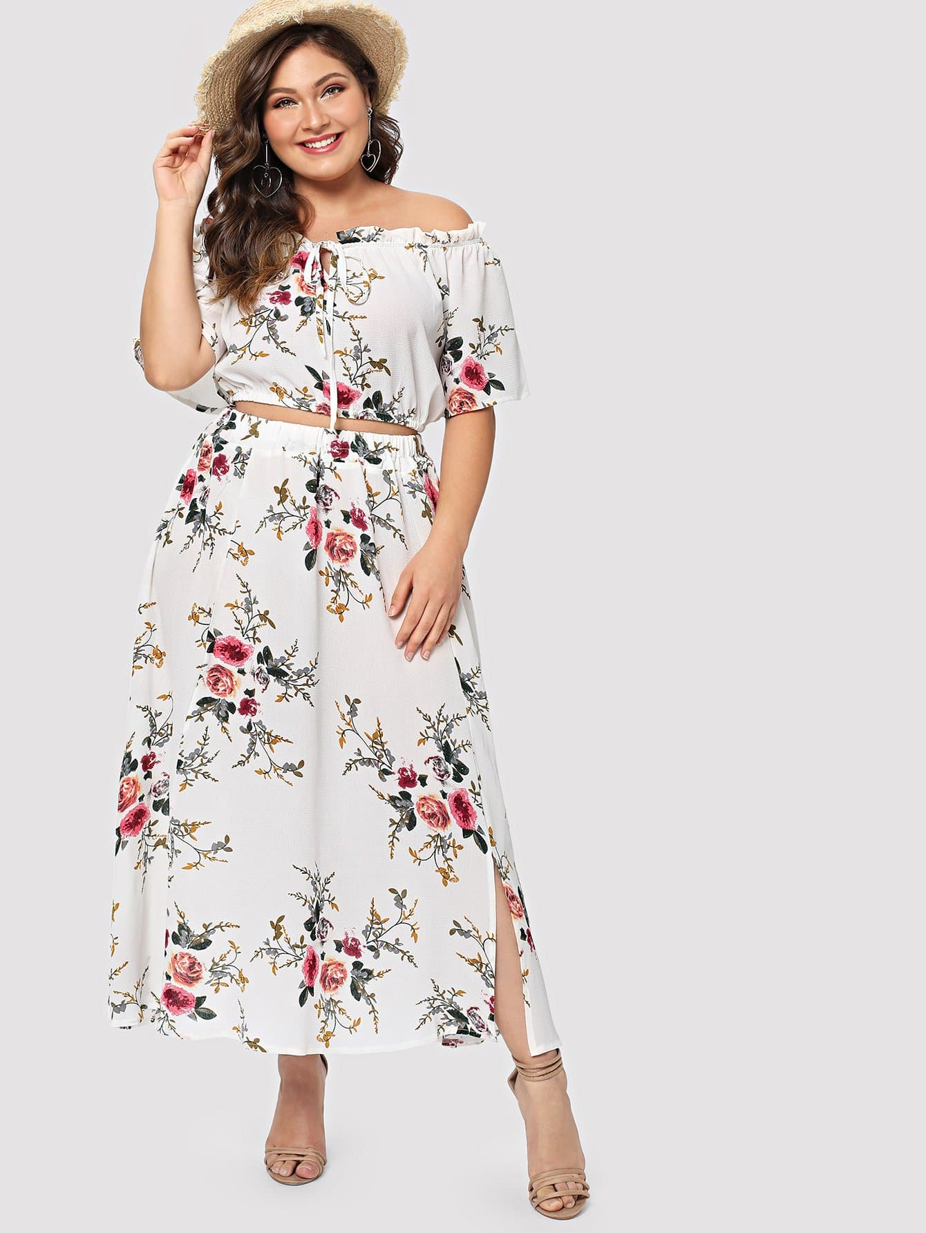 Plus Split Floral Knot Off The Shoulder Two-piece Outfit yellow lace up design floral print off the shoulder long sleeves two piece outfits