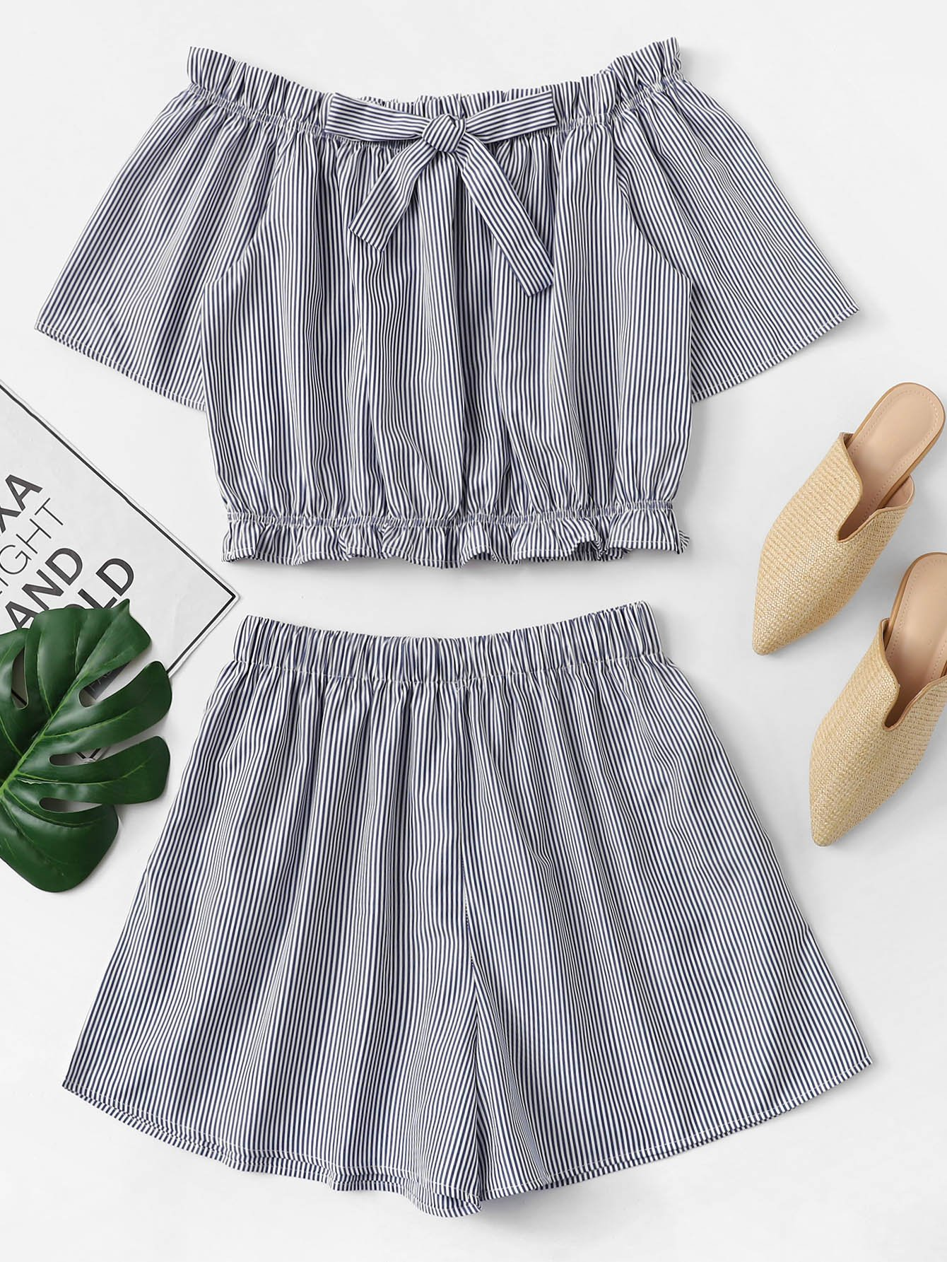 Plus Striped Frill Bow Two-piece Outfit