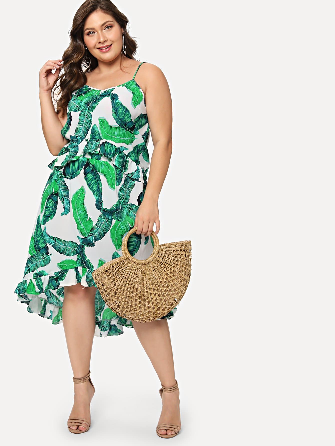 Plus Tropical Frill Asymmetrical Two-piece Outfit