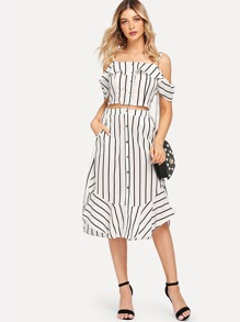 Open Shoulder Striped Top With Skirt