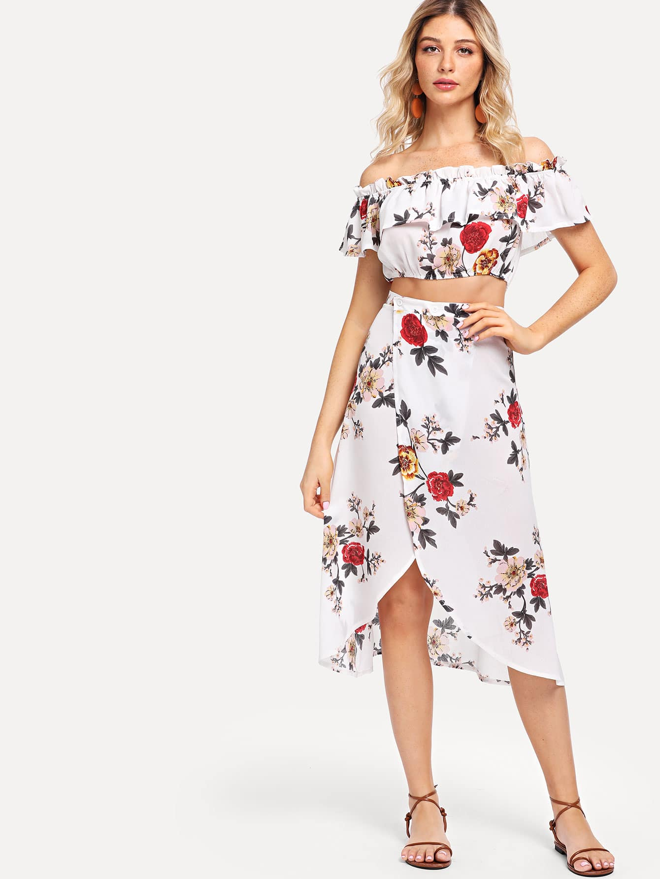 Off Shoulder Ruffle Floral Top With Skirt mesh shoulder ruffle floral top