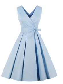Solid V Neckline Belted Dress