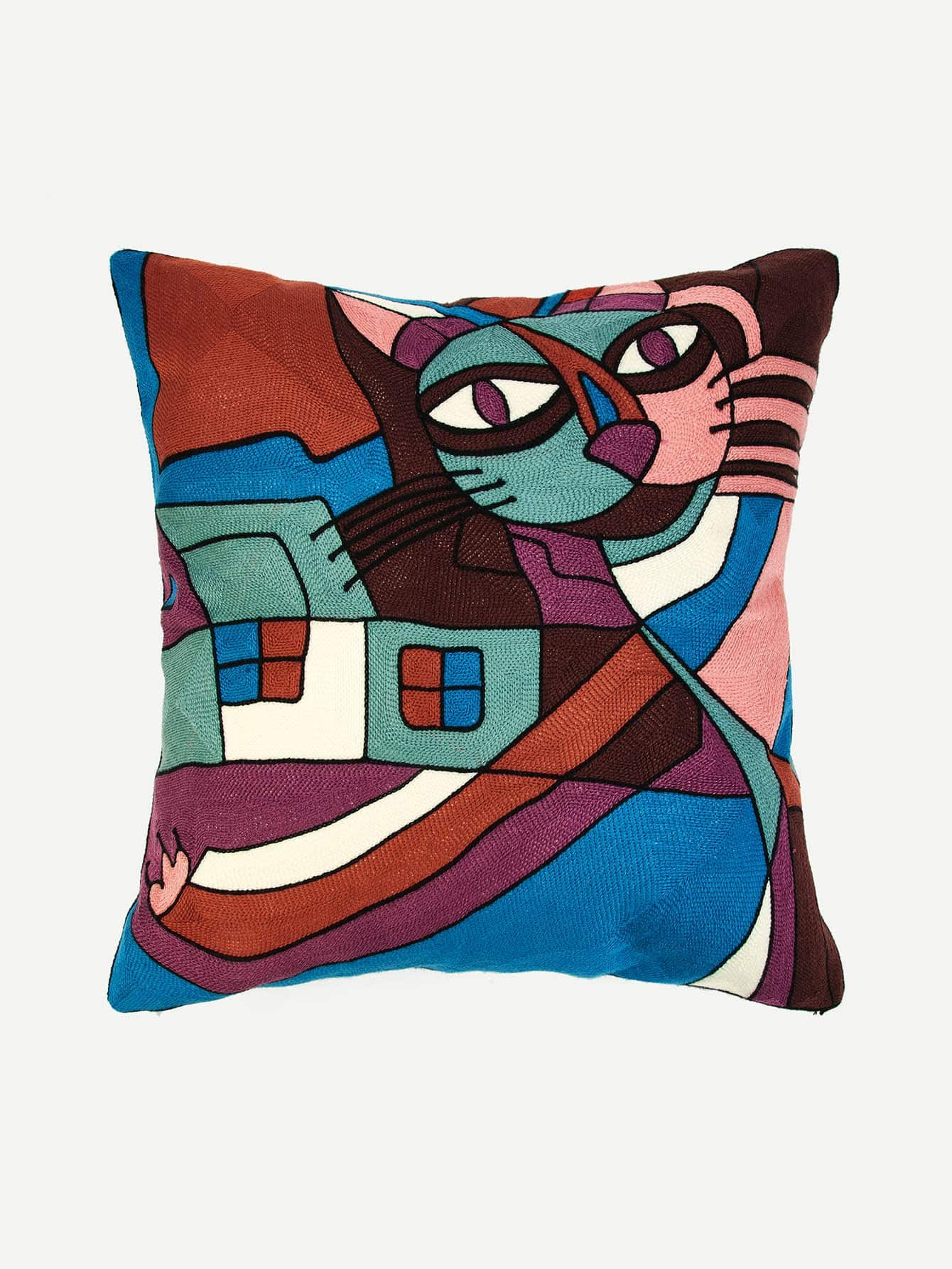 Abstract Animal Embroidery Pillowcase Cover 1Pc