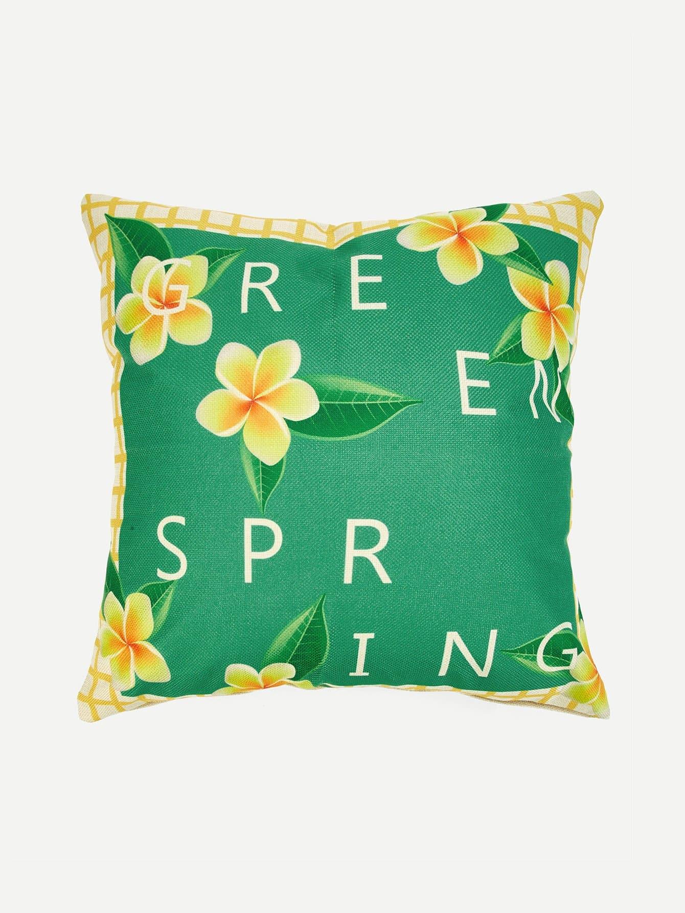 Flower & Letter Pillow Case Cover 1PC