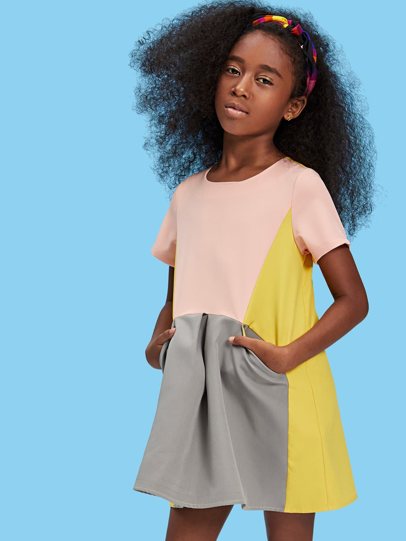 Girls Pocket Front Cut and Sew Dress girls cut and sew top