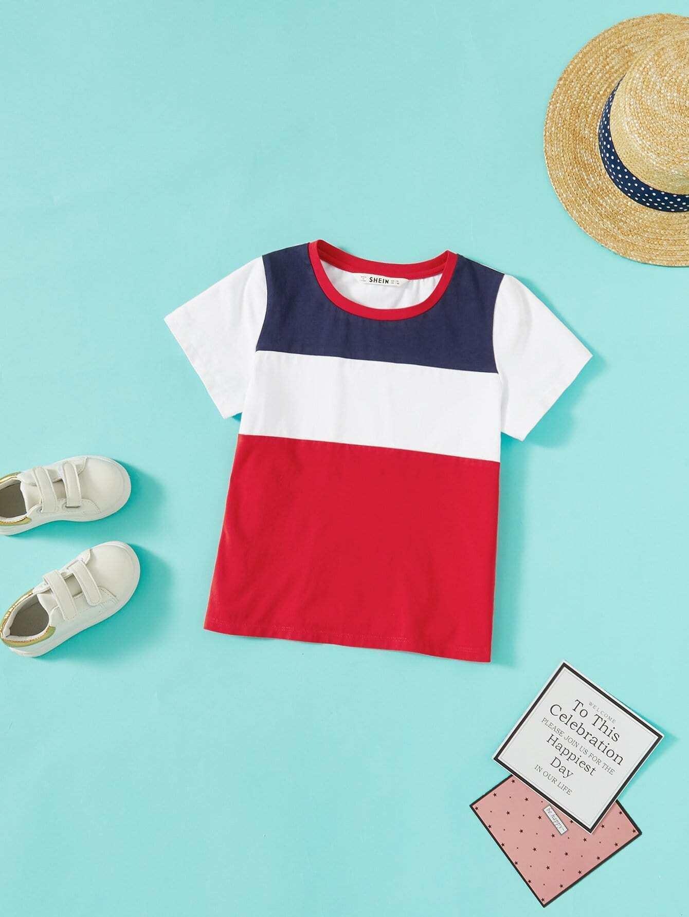 Girls Colorblock Round Neck T-Shirt blue stripe colorblock round neck raglan sleeves t shirts