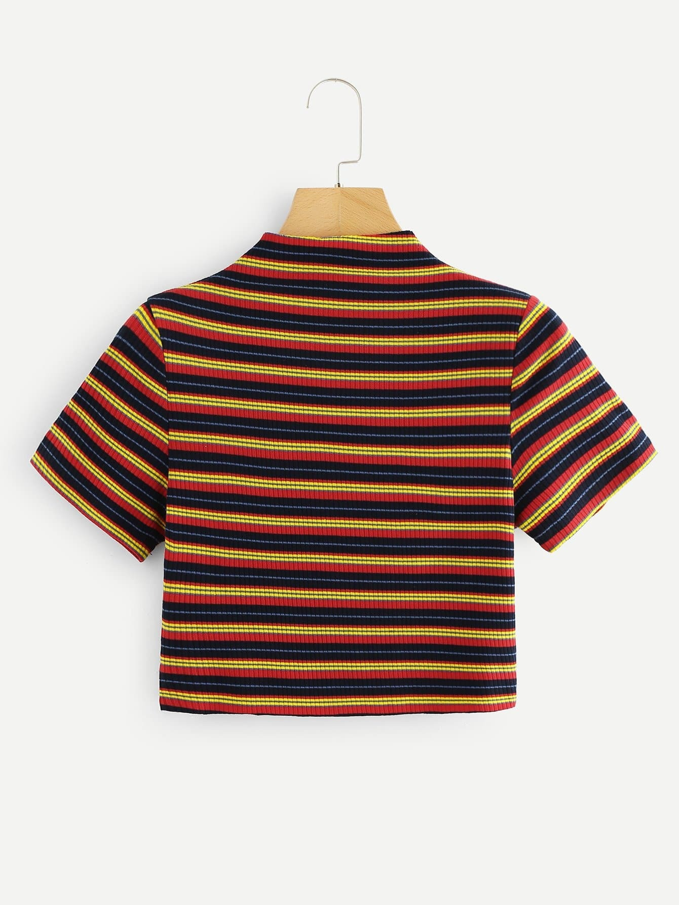 Striped Ribbed Mock Neck Crop Tee