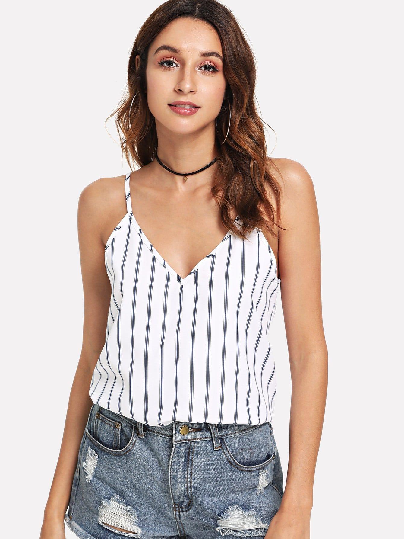 все цены на Double V-Neck Striped Cami Top