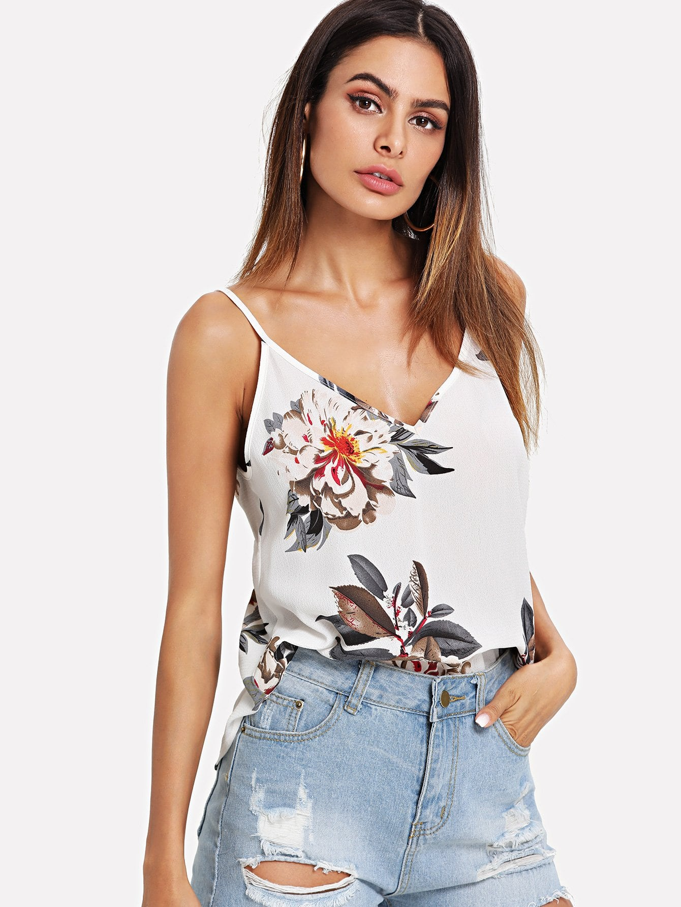 Double V-Neck Floral Cami Top continental contisportcontact 3 205 40 r17 84v