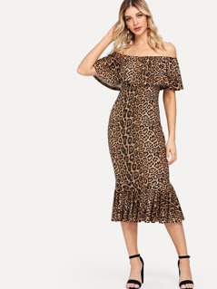 Leopard Print Foldover Front Fishtail Hem Dress