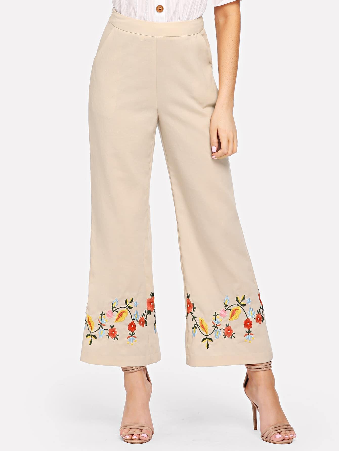 Купить Цветочные вышитые наклонные карманные брюки с широкими ногами, Nathane, SheIn