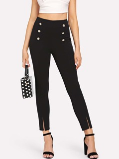 Button Embellished Slit Hem Pants