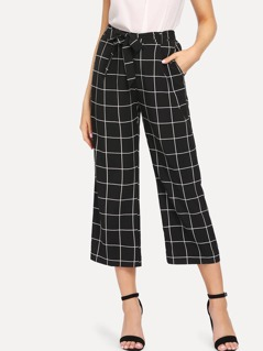 Self Belted Wide Leg Grid Pants