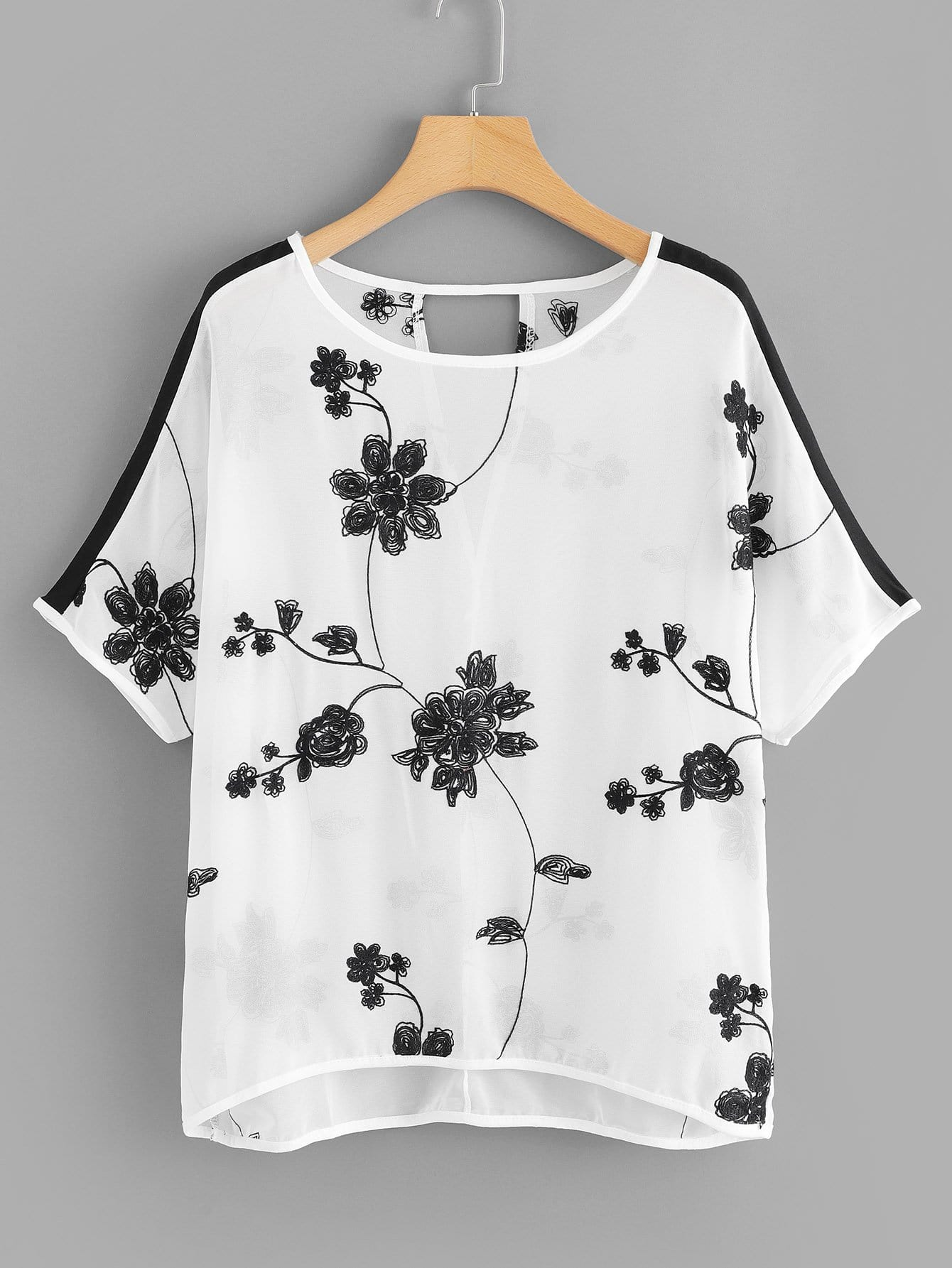 Flower Embroidered Cut Out Back Blouse cut out back daisy print blouse