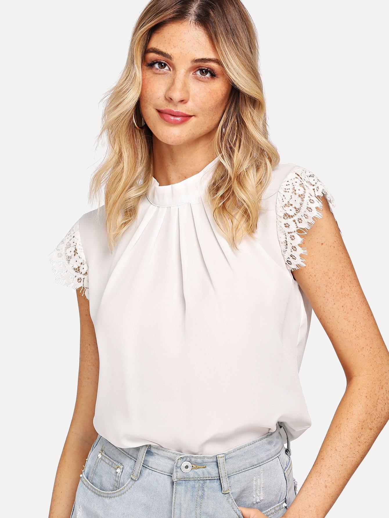 Купить Контрастная кружевная блузка для ресниц, null, SheIn