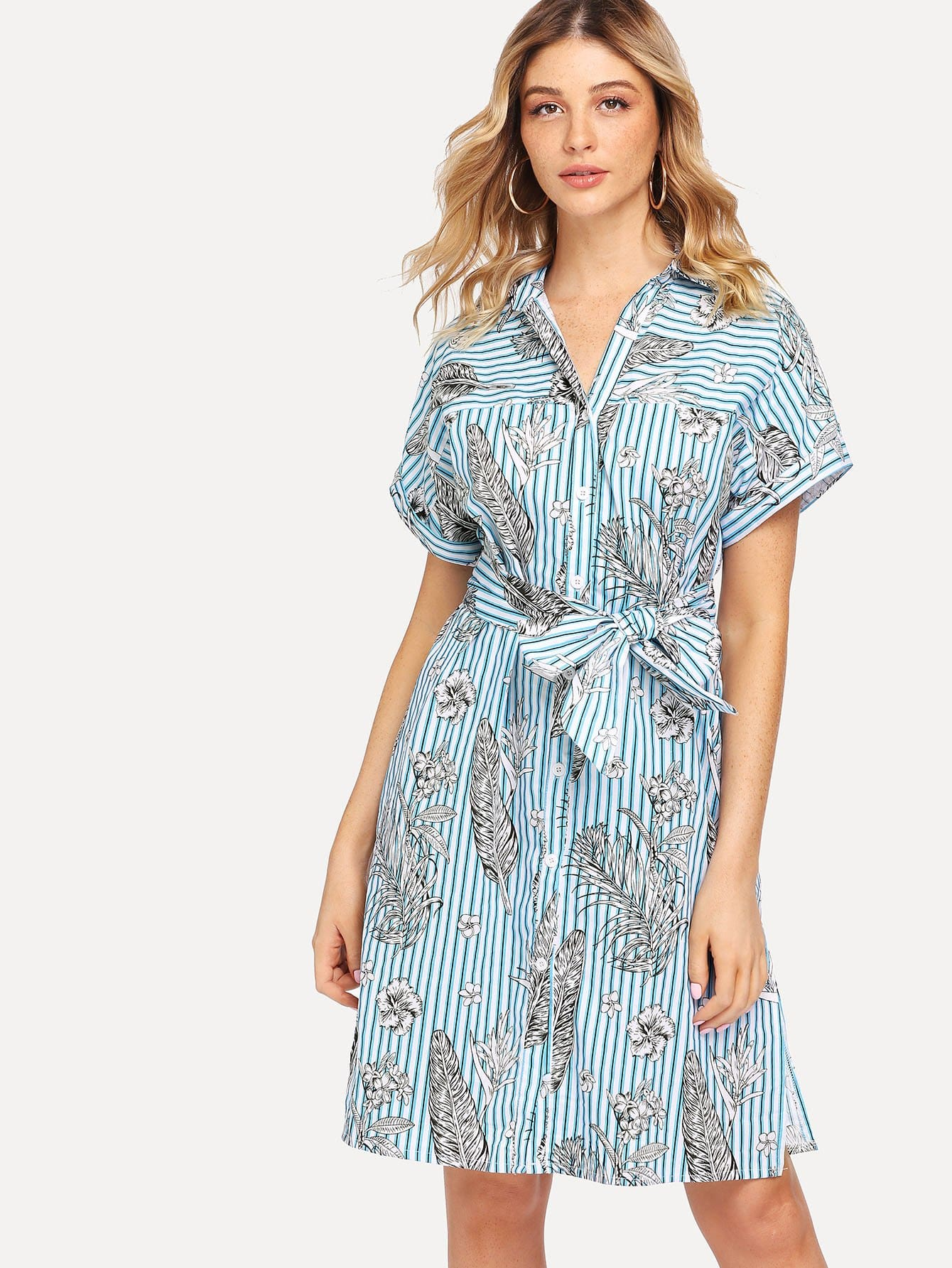 все цены на Floral Print Striped Slit Side Shirt Dress онлайн
