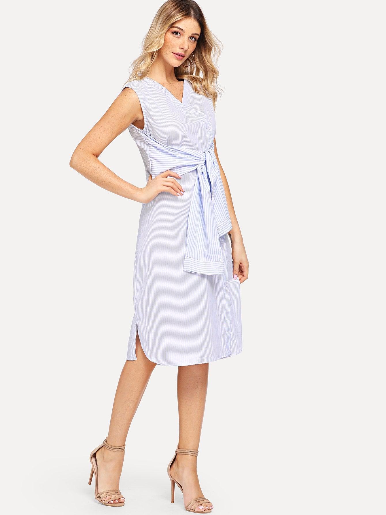 Knot Detail Striped Split Dress one shoulder waist knot split striped dress