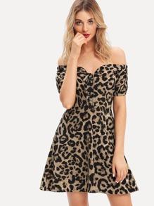 Bardot Lace Up Leopard Print Dress