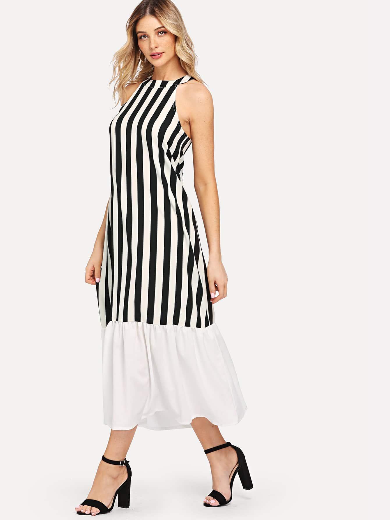 Купить Платье с полосками из блок-полосок, null, SheIn