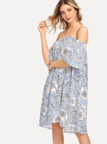 Random Florals Striped Bardot Dress