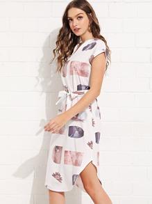 Self Tie Curved Hem Dress
