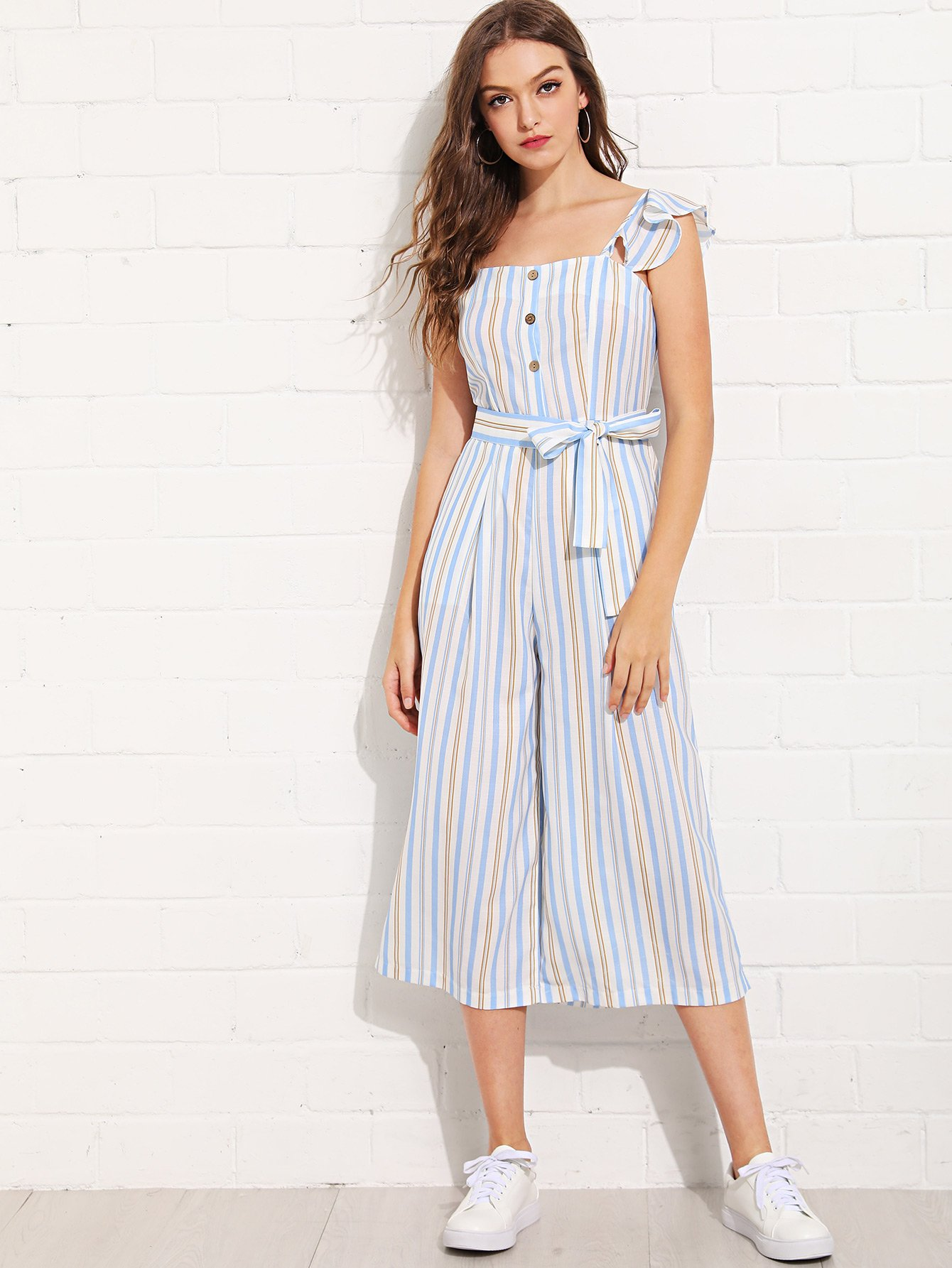 Vertical-Striped Wide Leg Jumpsuit striped backless wide leg jumpsuit