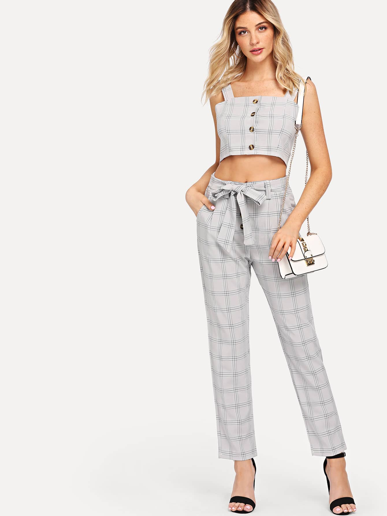 Button Front Crop Top With Pants valera sn 9100y