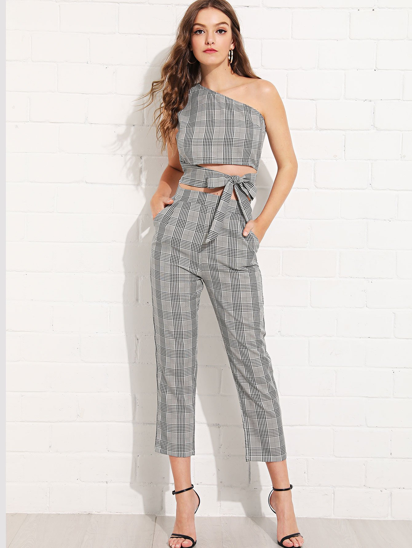 Glen Plaid One Shoulder Knot Top With Pants glen plaid ruffle cami top