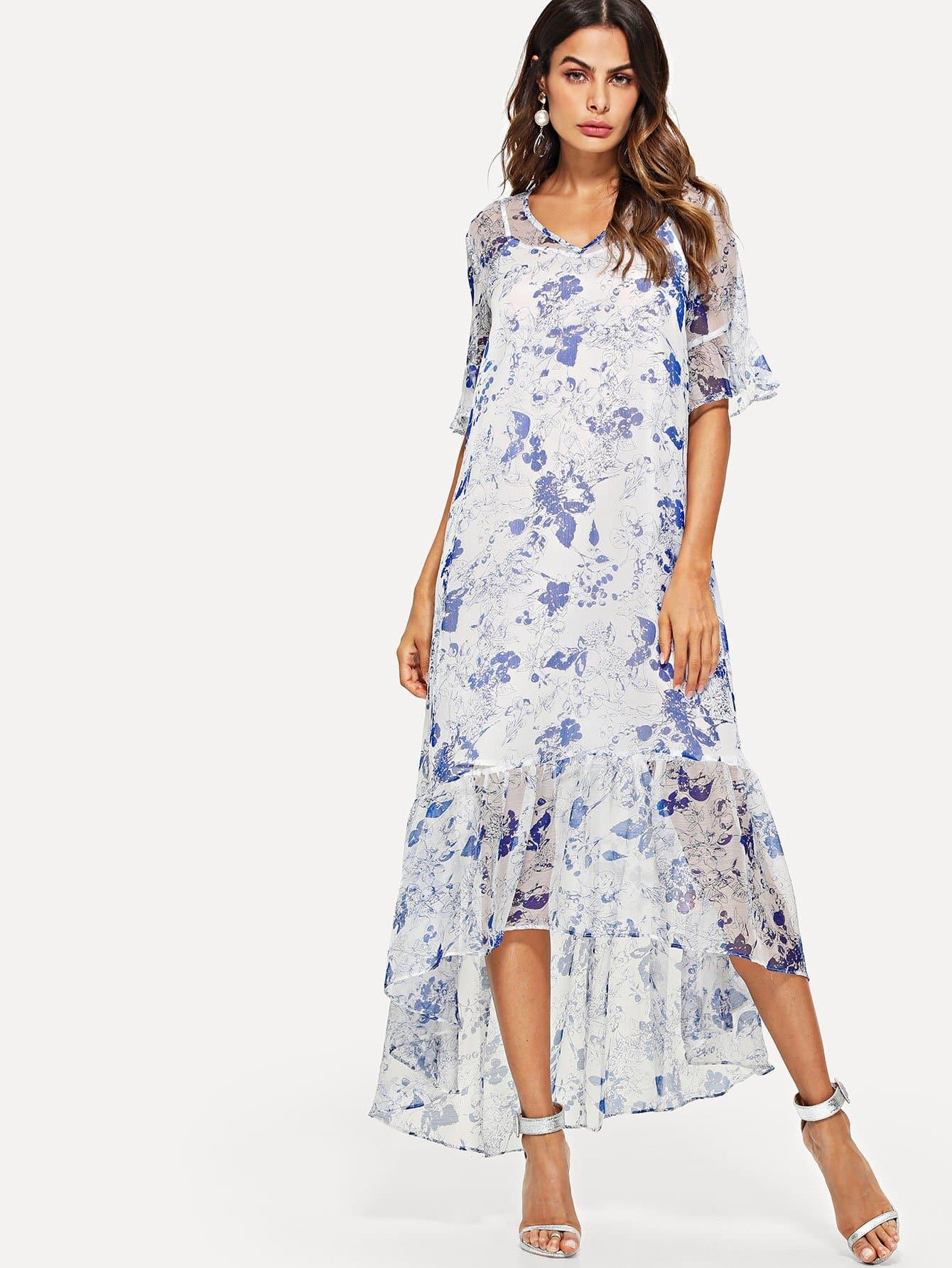 Купить Высокое низкое цветовое платье с капюшоном с ками, Andy, SheIn