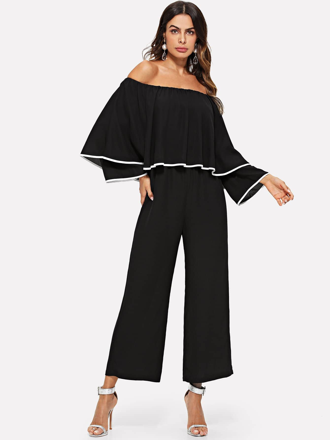 Contrast Binding Layered Wide Leg Jumpsuit contrast halter and binding layered ruffle bodice jumpsuit