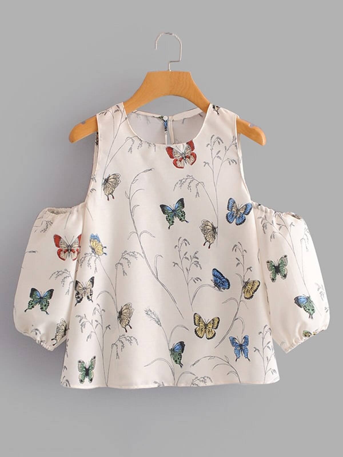Butterfly Print Open Shoulder Blouse