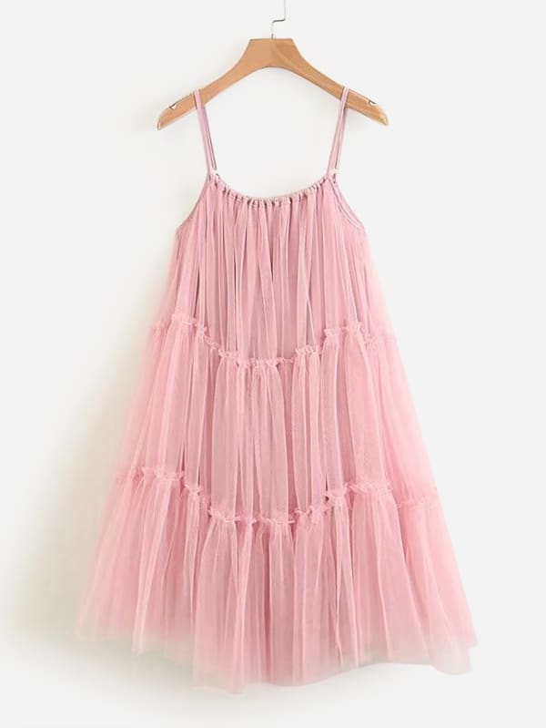 Tiered Seam Mesh Cami Dress swan print tiered mesh dress