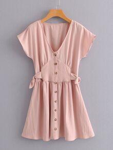 Tie Side Button Through Dress