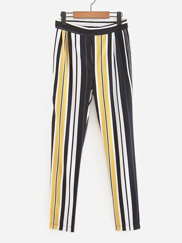 Vertical-Striped Elastic Waist Pants vertical striped pants
