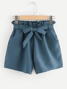 Self Tie Frill Waist Shorts