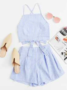 Bow Tie Open Back Cami Top & Shorts Set