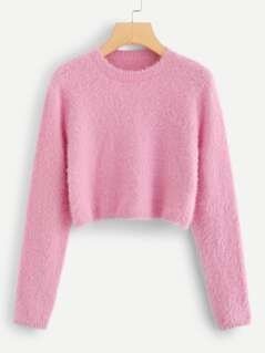 Solid Crop Fuzzy Jumper
