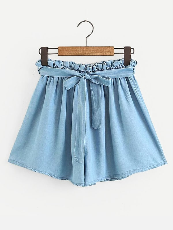 Frill Trim Belted Denim Shorts frill trim cuffed denim shorts